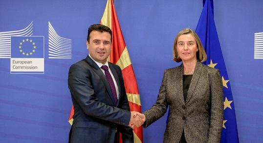 Zaev-Mogherini: EU commends Macedonia's tangible progress