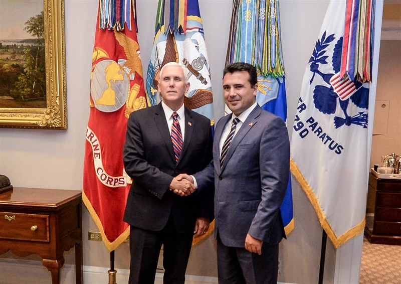 PM Zaev meets US vice president Pence in Washington