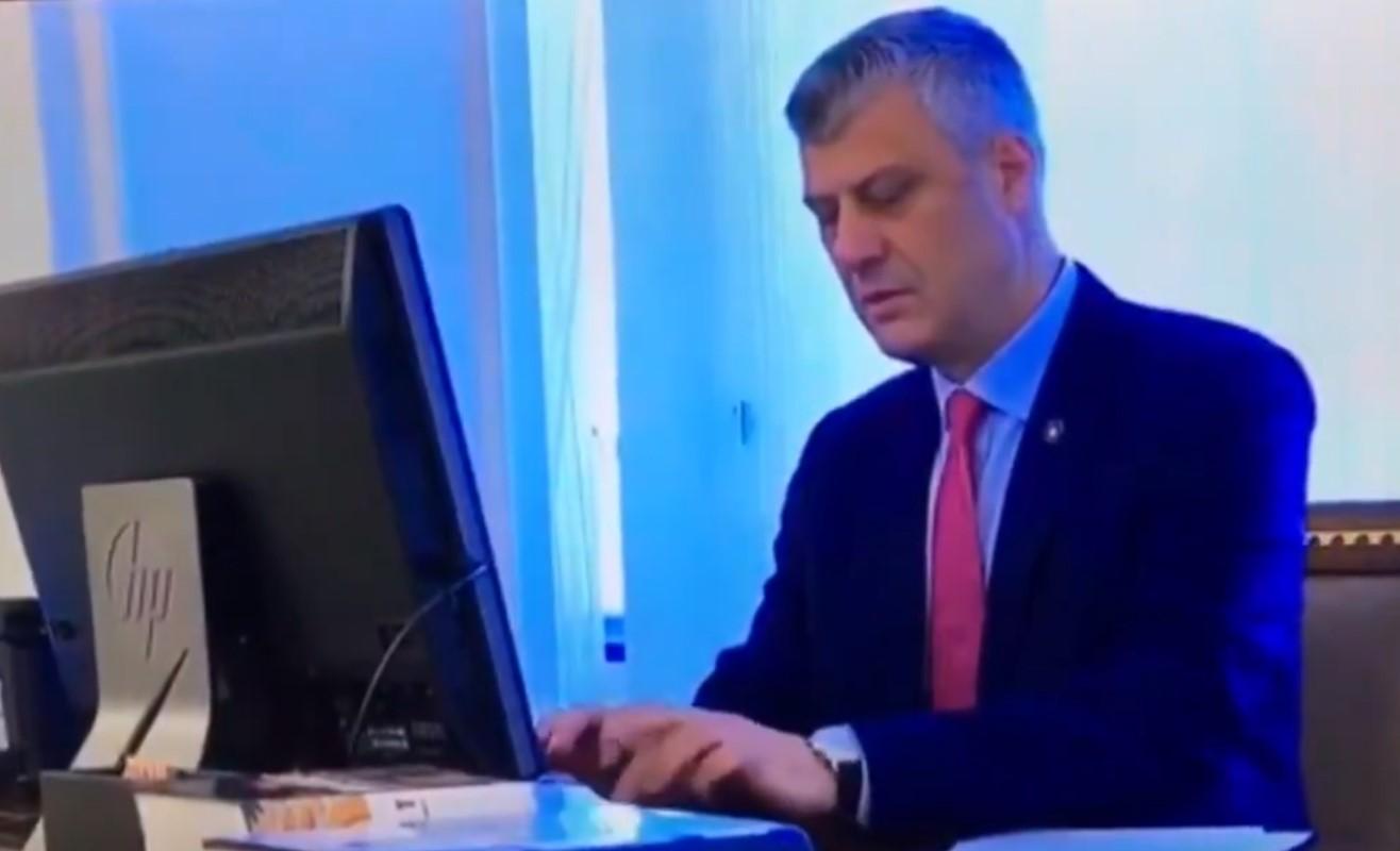 """(ВИДЕО) """"123456"""": Хашим Тачи несвесно ја откри лозинката на својот компјутер"""