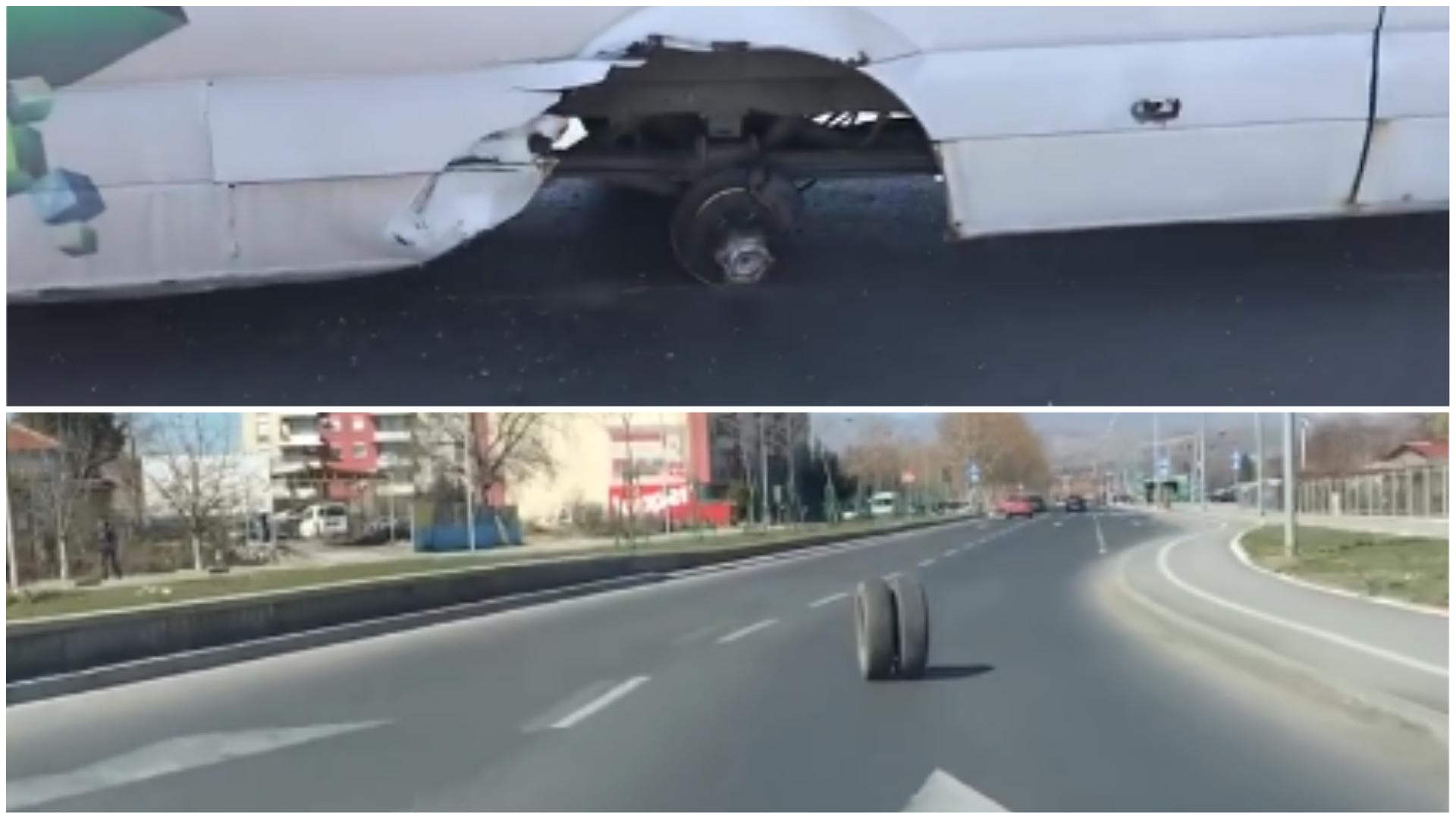 (ВИДЕО) Комбе со патници остана без тркало среде улица во Скопје